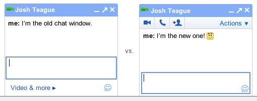 Chat with and without toolbar.