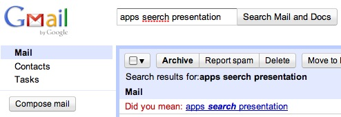 Google Apps Search Corrections